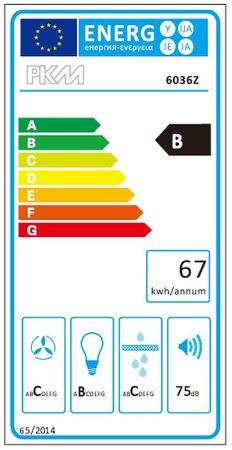 PKM 6036Z LED Dunstabzugshaube 60 cm schwarz Kaminhaube eckig – Bild 2