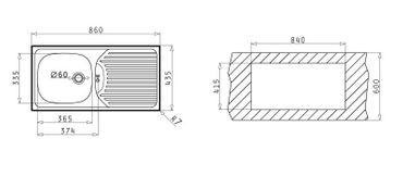Pyramis CA 1 Spülbecken Edelstahl mit Abtropffläche 860 x 435mm Spüle – Bild 3