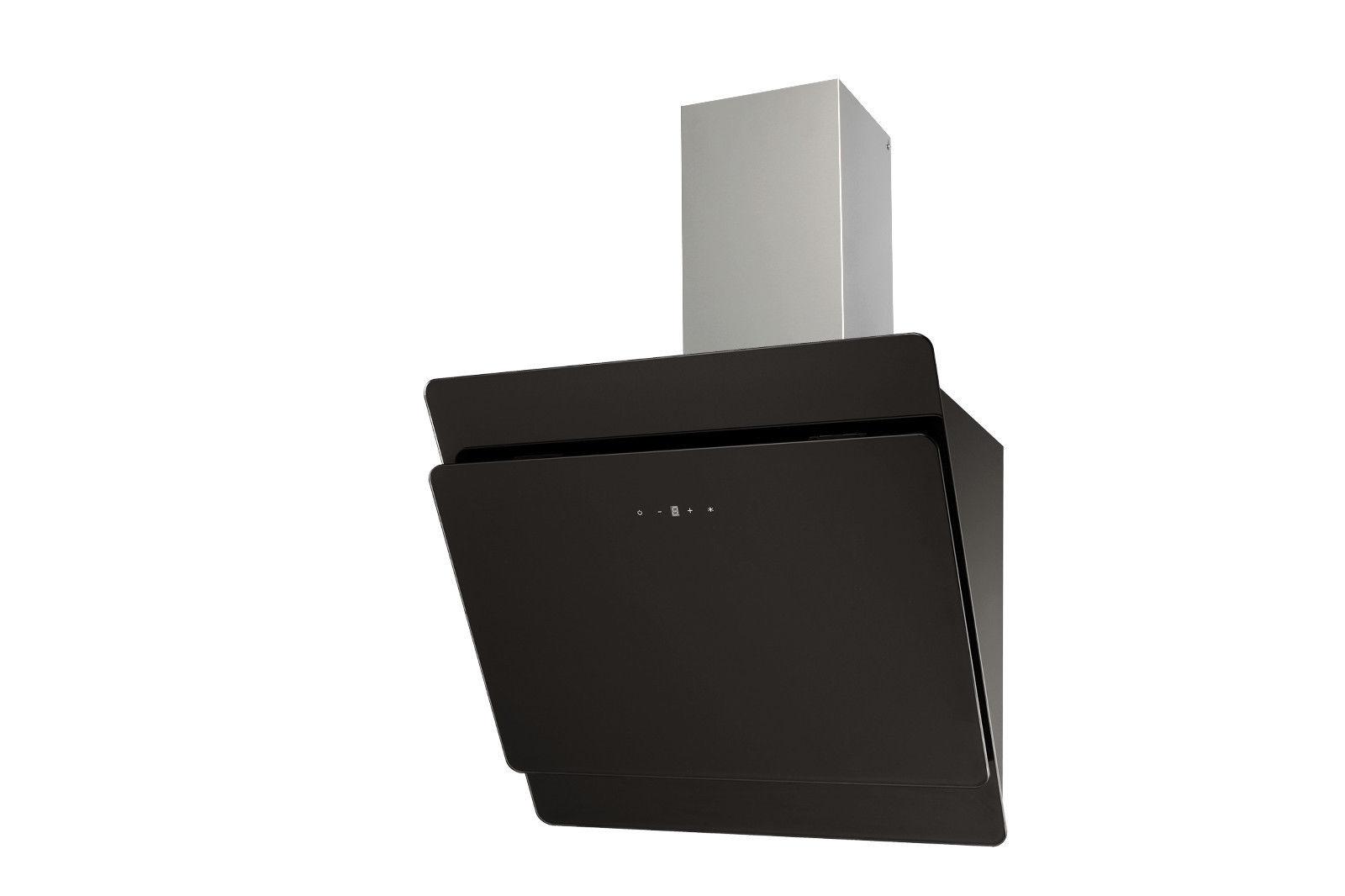 Pkm s3 60 abtz schwarz glas edelstahl dunstabzugshaube schräghaube