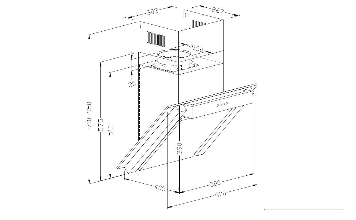 dunstabzugshaube kopffreihaube 60cm edelstahl glas pkm. Black Bedroom Furniture Sets. Home Design Ideas