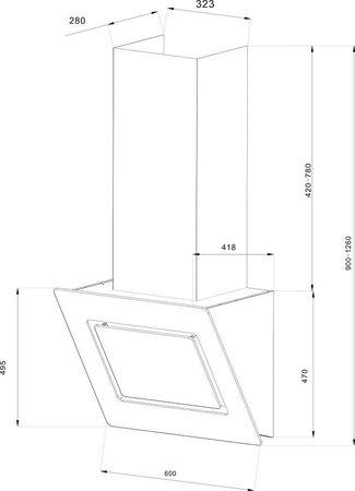 PKM 9040/60WZ Dunstabzugshaube weiß 60cm Kopffreihaube Abluft Umluft – Bild 4