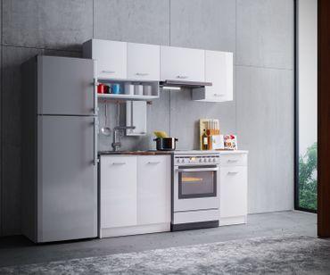 Küchenzeile Gemini weiß hochglanz 180cm Modulküche Einbau Küchenblock – Bild 3