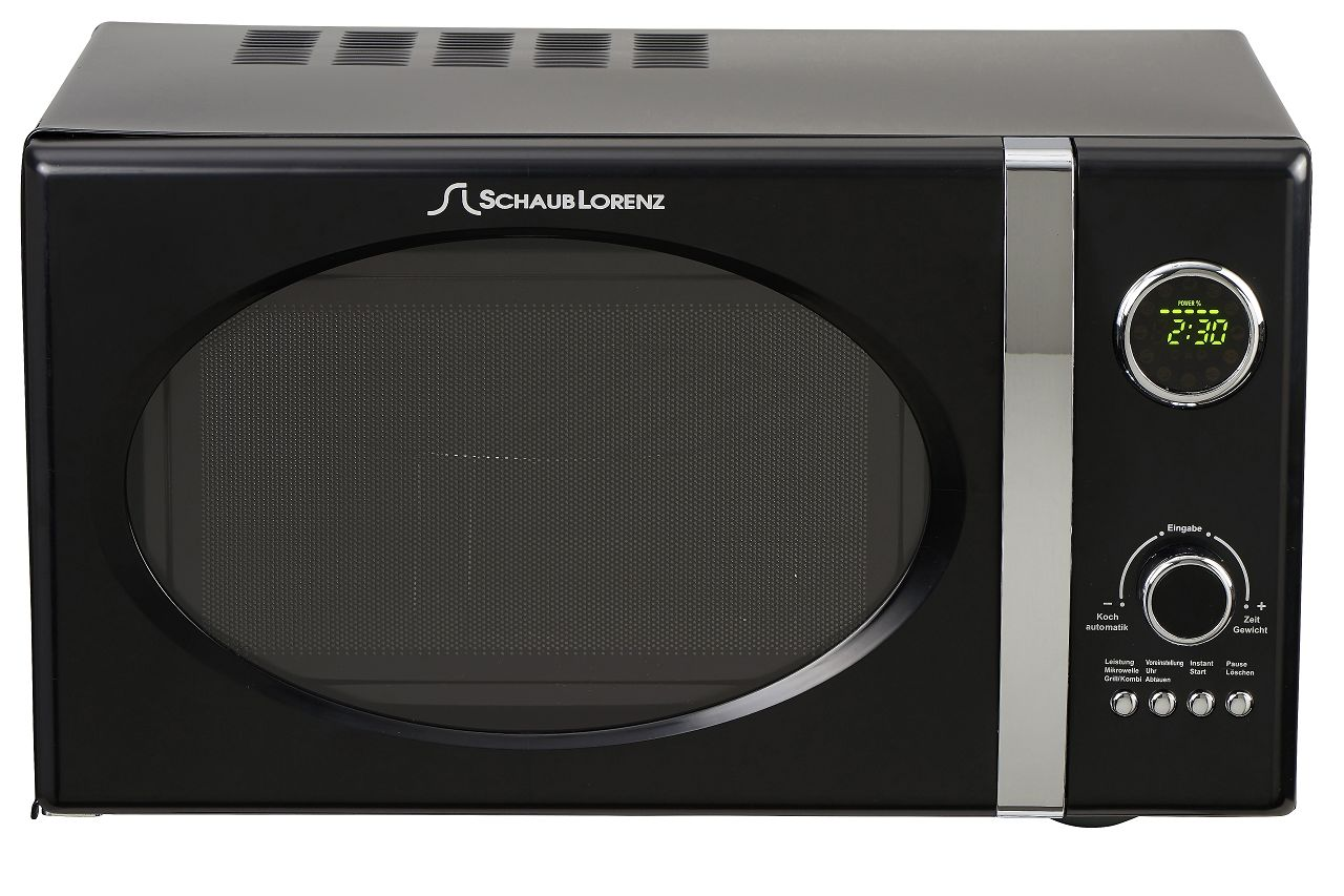 schaub lorenz mw823g b black retro microwave 800 watt. Black Bedroom Furniture Sets. Home Design Ideas