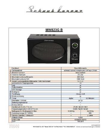 Schaub Lorenz MW823G B schwarz retro Mikrowelle 800Watt - Grill 1000Watt – Bild 2