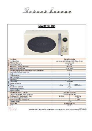 Schaub Lorenz MW823G SC creme retro Mikrowelle 800Watt - Grill 1000Watt – Bild 2