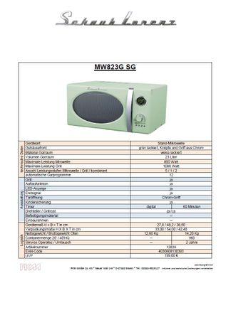 Schaub Lorenz MW823G SG Lindgrün retro Mikrowelle 800Watt - Grill 1000Watt – Bild 2