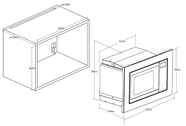 einbau mikrowelle edelstahl 60 cm pkm mw820ebm 800watt integriert mit rahmen ebay. Black Bedroom Furniture Sets. Home Design Ideas
