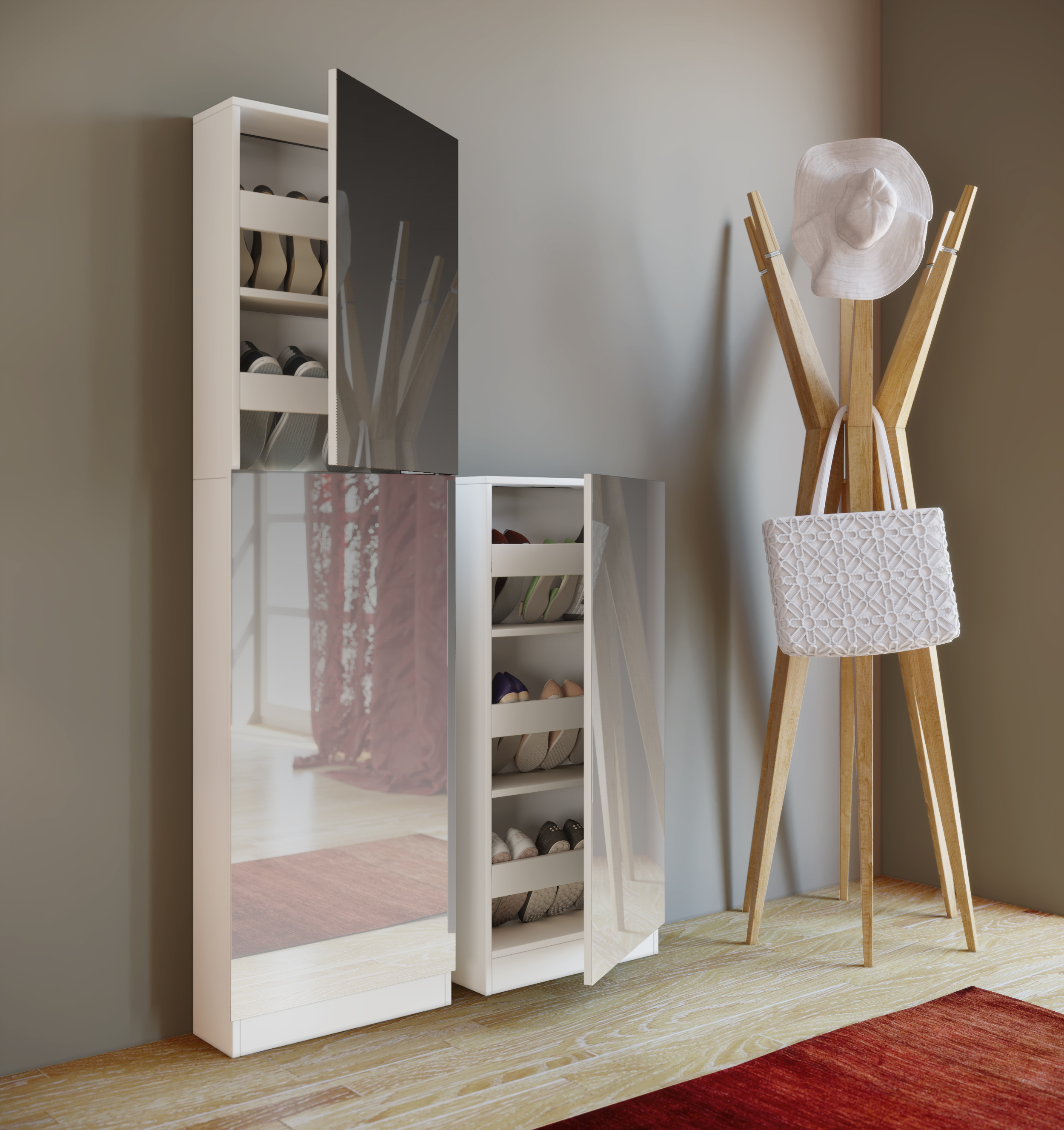 schuhschrank wei mit spiegel schuhablage schuhregal spiegelschrank ebay. Black Bedroom Furniture Sets. Home Design Ideas