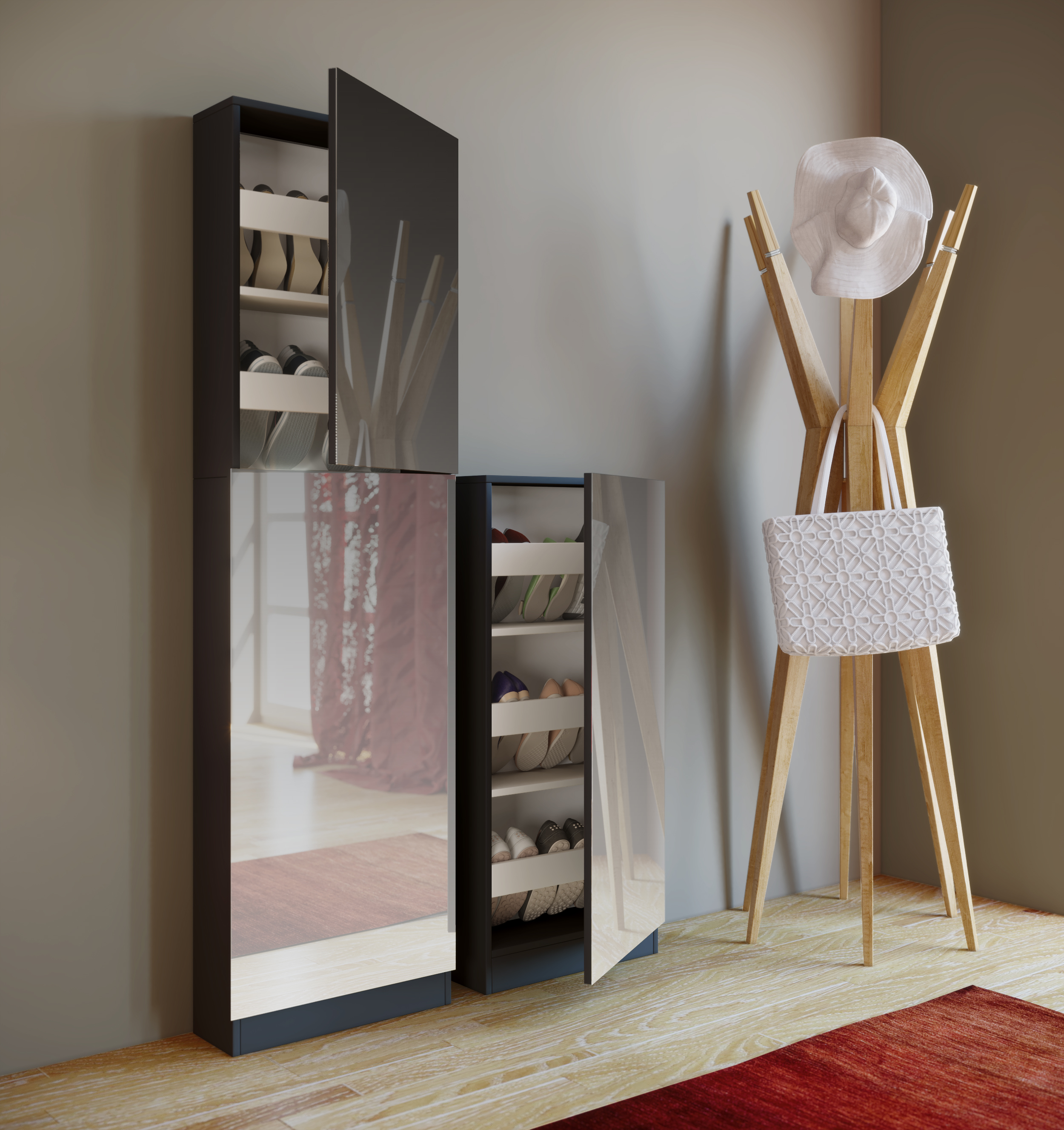 schuhschrank schwarz mit spiegel schuhablage schuhregal. Black Bedroom Furniture Sets. Home Design Ideas
