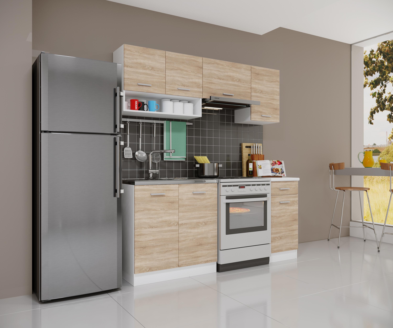 k che singlek che 180cm sonoma eiche modulk che einbauk che k chenblock zeile ebay. Black Bedroom Furniture Sets. Home Design Ideas