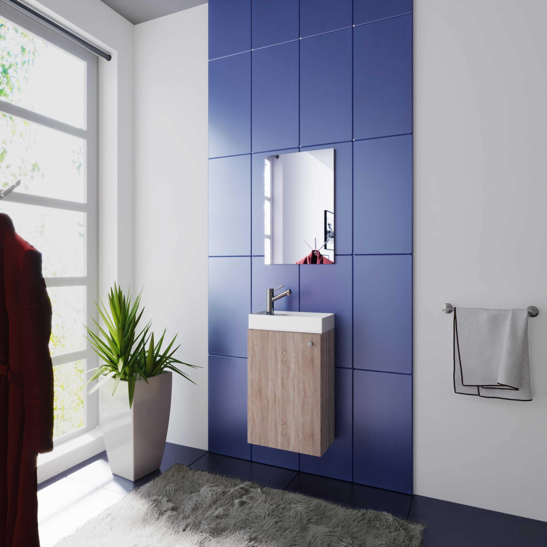 Wash Room Sonoma Oak Wash Basin Cabinet And Mirror Wc Guests