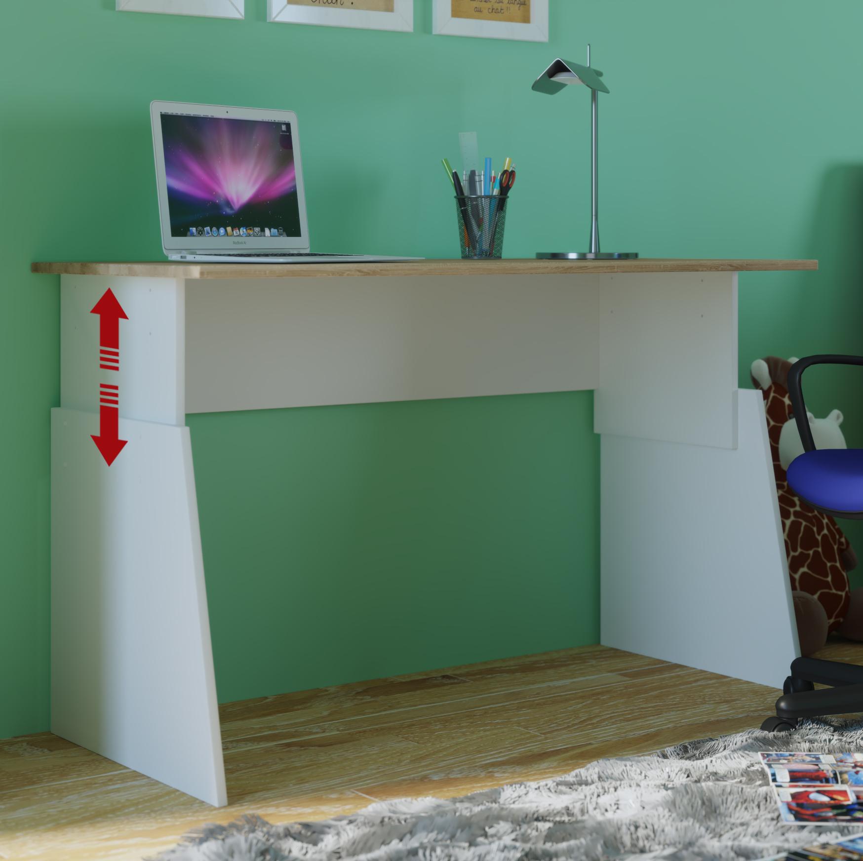 schreibtisch sonoma 110cm breit h henverstellbar 55 75cm. Black Bedroom Furniture Sets. Home Design Ideas
