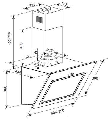 Dunstabzugshaube SH-A60-BL 60cm Glas schwarz Kopffreihaube Schräghaube – Bild 4