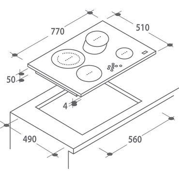 Candy Kochfeld CH 742 77cm Bräterzone Glaskeramik Autark Touch Timer – Bild 2