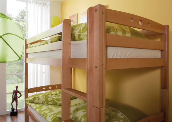 Etagenbett Massivholz Buche : Kinderbett etagenbett pauli buche vollholz massiv weiß lackiert