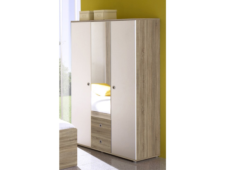 kleiderschrank 3 t rig vicky sonoma wei kinder. Black Bedroom Furniture Sets. Home Design Ideas