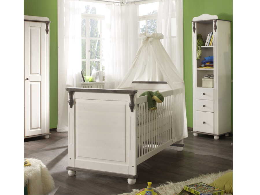 babybett lara ii kiefer massiv lava wei babyzimmer komplett sets lara. Black Bedroom Furniture Sets. Home Design Ideas