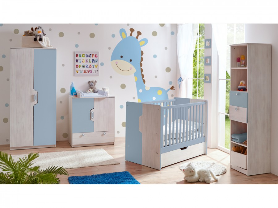 babyzimmer nino 6 teilig blau massivmoebel24 kategorien babyzimmer komplett sets nino. Black Bedroom Furniture Sets. Home Design Ideas