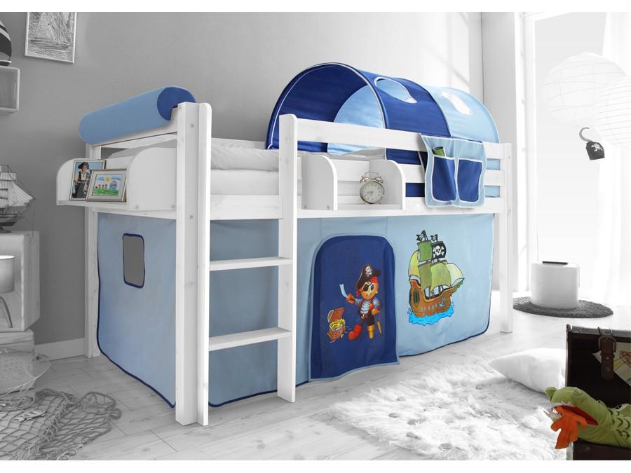 Spielbett Hochbett Kinderbett Kinder Bett 90x200 Cm Vorhang