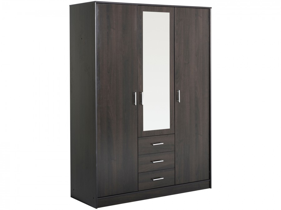 kleiderschrank 3 trg mit spiegel infinity 9 kaffee. Black Bedroom Furniture Sets. Home Design Ideas