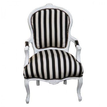 Barocksessel schwarz weiß Stuhl Stuhl Retrostil Antik – Bild 1