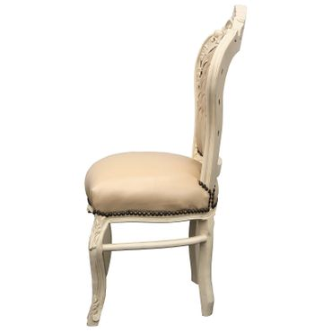 Beautiful set of 6 Chairs Baroque Style Dining Beige Leatherette Solid Wood – image 5