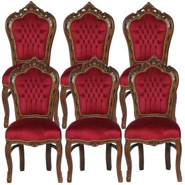 Sitzgruppe Esszimmer Barockmöbel dunkelrote Farbe 6er Barock Stühle Set Polsterstühle – Bild 1