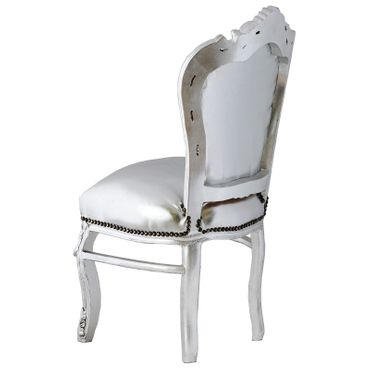 Amazing Set of 4 Chairs and Silver Table Baroque Design – image 3