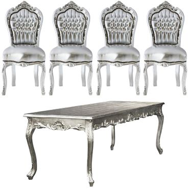 Amazing Set of 4 Chairs and Silver Table Baroque Design – image 1