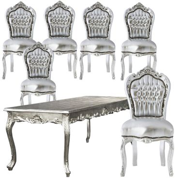 Extravagant Dining Room Set Silver Leatherette Hand Crafted Solid Wood – image 1