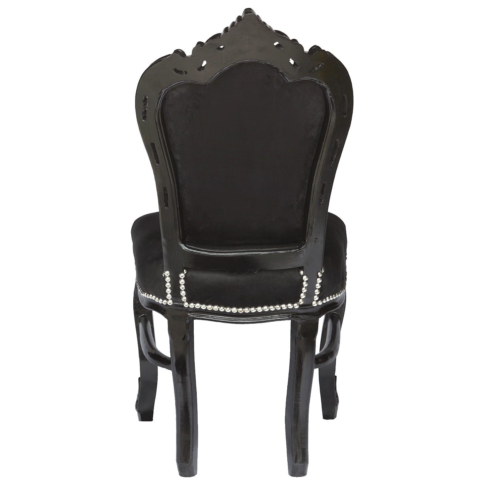 esstisch 4 schwarze st hle antik barock esszimmer garnitur tisch 160cm silber. Black Bedroom Furniture Sets. Home Design Ideas