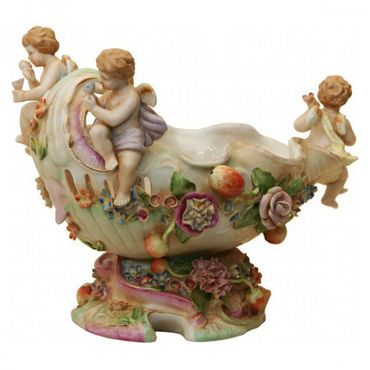 Angel travel on boat colourful ornaments shell elegant antique design bowl – image 1