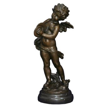 Music angel motif angel figurine from bronze statue on round marble base – image 2