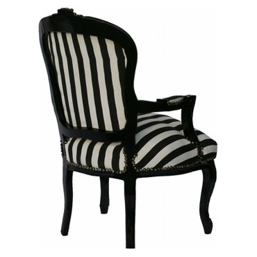 Salon chair, side chair with glossy black frame in black & white stripes    – image 5