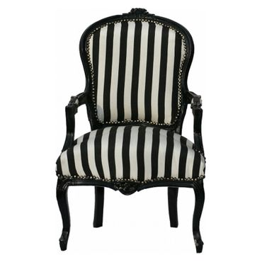 Salon chair, side chair with glossy black frame in black & white stripes    – image 1