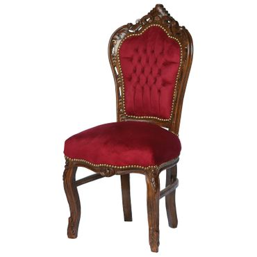 Red chair solid wood frame with burgundy velvet French – image 2