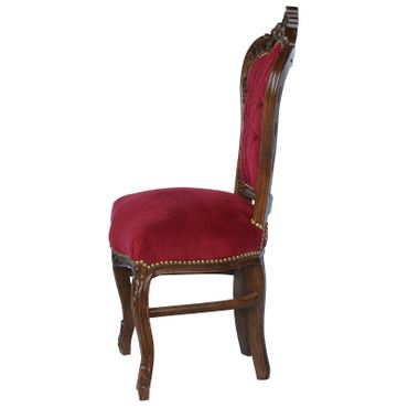 Red chair solid wood frame with burgundy velvet French – image 3
