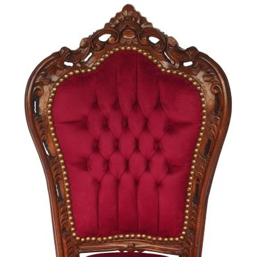 Red chair solid wood frame with burgundy velvet French – image 5