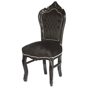 Amazing Set of 4 Dining Room Chairs Baroque Gothic Black Velvet Solid Wood Frame – image 3