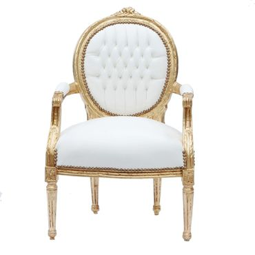 Elegant Living Room Chair White Leatherette Gold Wood Frame Baroque Style – image 1