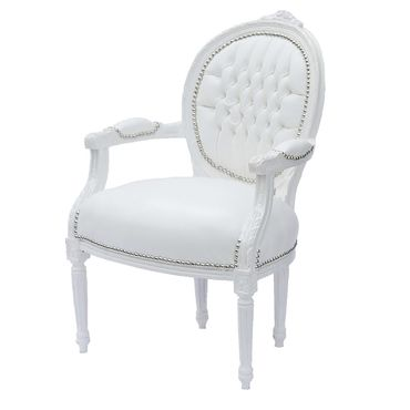 Modern White Leatherette Baroque style Living Room Office Chair White Wood Frame – image 2