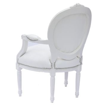 Modern White Leatherette Baroque style Living Room Office Chair White Wood Frame – image 5