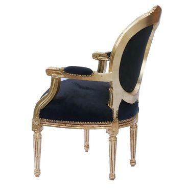Elegant Living Room Chair Black Leatherette Gold Wood Frame Baroque Style – image 4