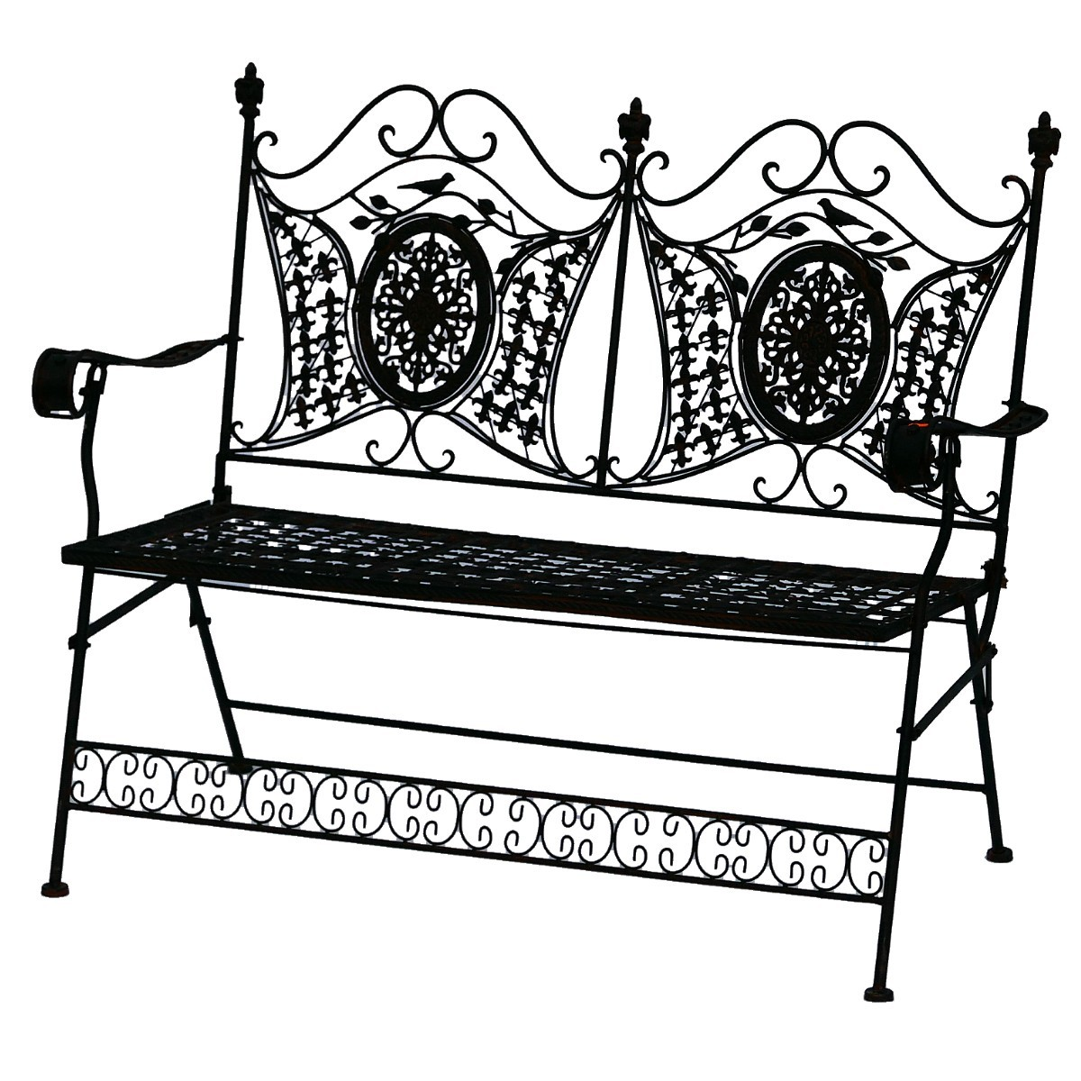 bank zweierbank braun metall sitzbank f r garten vorgarten mit kreismotiv. Black Bedroom Furniture Sets. Home Design Ideas