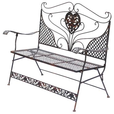 Brown Garden Bench with Heart foldable two-seater bench for terrace garden – image 3