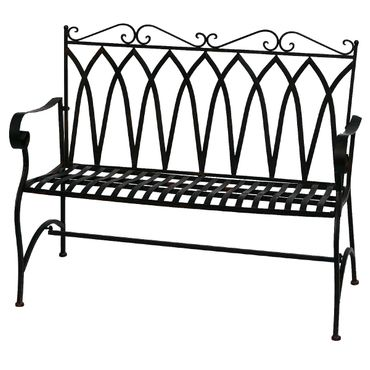 Brown metal Bench for two people for terrace garden – image 2