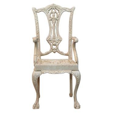 Antique garden metal chair in white as conservatory decoration – image 2