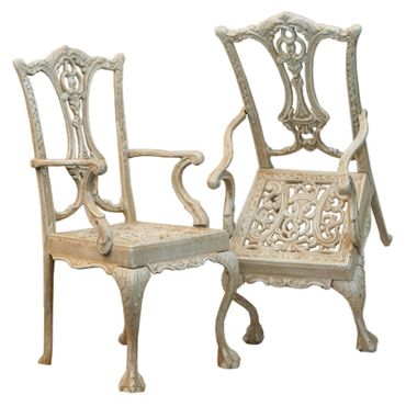 Antique garden metal chair in white as conservatory decoration – image 5