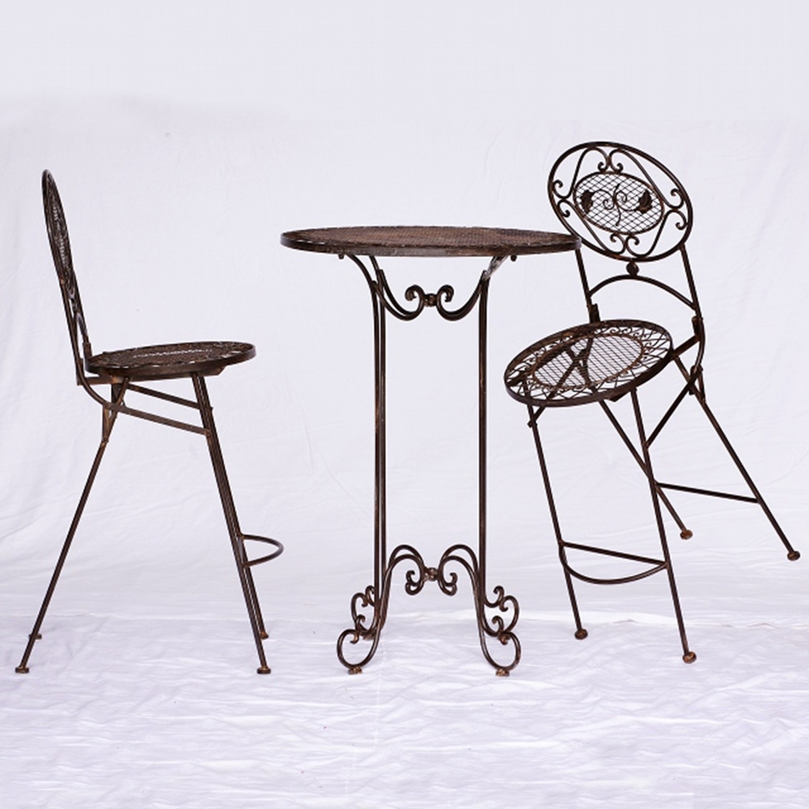 Gartenmöbel Set Metall braun 1 Tisch 2 Stühle Barset Bartisch ...