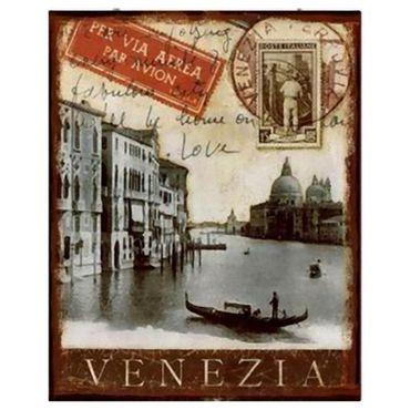 Tin sign VENEZIA venice city stamp style nostalgic retro wall decoration